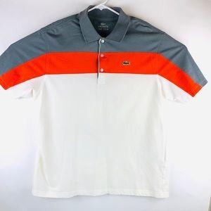 Lacoste Sport Mens Polo Sz 6 (XL)Gray,White,Orange